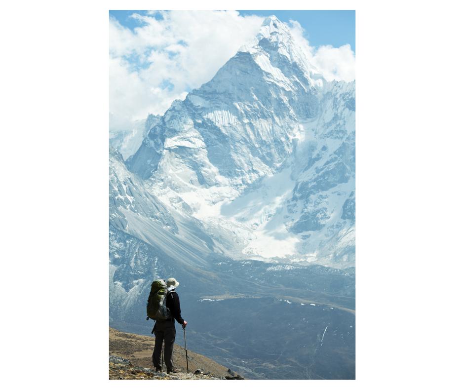 Mountain and climber